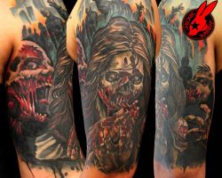 Zombie Sleeve Tattoo by Jackie Rabbit by jackierabbit12