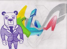 Unfinished graffiti :3 with a yakuza panda by iamcrod