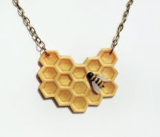 Bee and Honeycomb Necklace by mAd-ArIsToCrAt