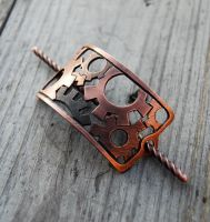 Copper Gears Barrette by DreamingDragonDesign