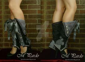 Black-grey damask spats with leather gears by arcticorset