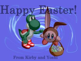 Easter Kirby and Yoshi by lorienelf