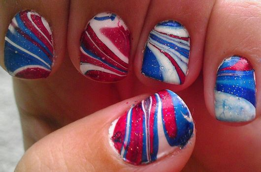 Red, White and Blue Marble Nail Art by wolfgirl4716