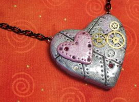 Steampunk Heart Necklace by CraftMagic