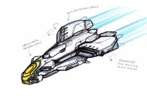 Quick Starship Sketch by Shantonian