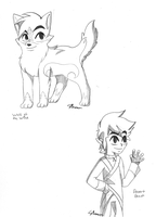 Wolf Toon Link and Link Karri in Wind Waker Style by Copper-Wings