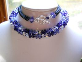Commission: Purple Crystal Flowers Necklace by OdinsBeadHall