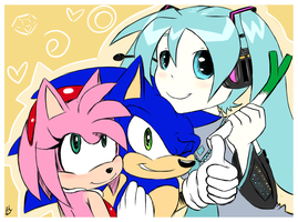 Sonic, Amy and Miku by Blue-Chica