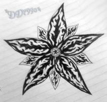 Blk-n-Wht Flower of Flames by DD7990