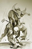 Bull riding man by heckthor