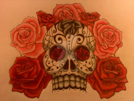 Sugar Skull and Roses For Mom by MadQueenStudio
