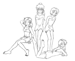 Cavegirls (sketch) by Tatakae-Genshijin