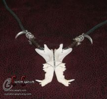 Cat Jaw Bone Necklace 1 by SkullGrrl
