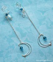 Winter Moon Faerie Wire Wrapped Ear Cuffs by SashaFitzgerald