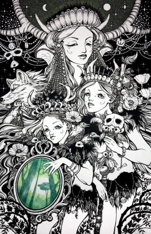 Shaman sisters and forest spirit by Julliane