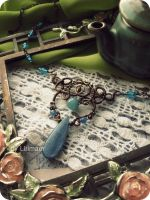 Filigree necklace with kyanite by Lirimaer86