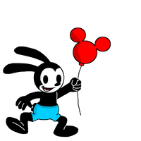 Oswald flying with a Mickey Mouse balloon - remake by MarcosLucky96