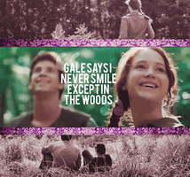 THG:Katniss + Gale:Smile by justadistrict12girl