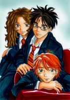 Harry Ron Hermione uniform by Yamatoking