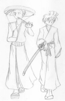 S et F in japanese clothes by 0-Amber-0