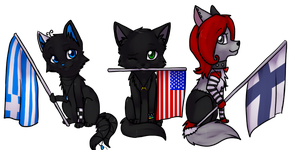 Three Chibis +commission+ by ninetail-fox