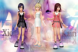Kingdom Hearts: Xion Namine and Kairi wallpaper by LumenArtist