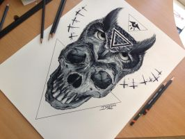Skull And Owl Drawing by AtomiccircuS