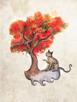 The Cat and the Gulmohar by KaveriGeewhiz