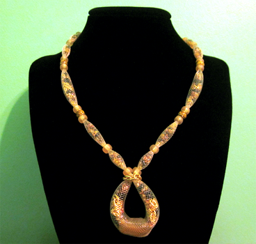 Gold - Black Netted Necklace by BloodRed-Orchid