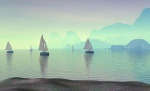 Boat island Background by Kiku-Stock