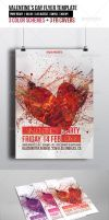 Valentines Day Party Flyer Template + FB Cover by madalincmc
