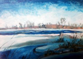 Acrylic on Canvas: Chambly Canal in January by Rossi-Rosedeni