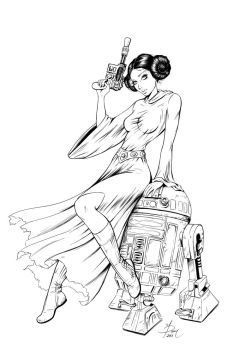 Princess Leia Commission -Inked by Dawn-McTeigue