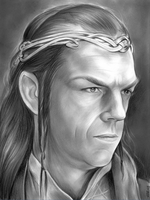 Hugo Weaving as Elrond in the Lord of the Rings by gregchapin