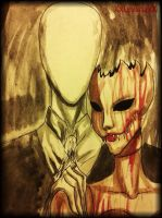Slenderman and Scarlet Fitch -Portrait- by XxLevanaxX