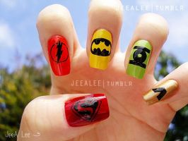 DC Comics Superheroes Nails by jeealee