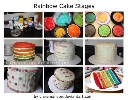 Rainbow Cake Stages by claremanson