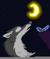 The Wolf And Moon by nagowteena101