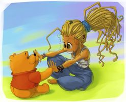 Nadya and Pooh by uksusss