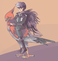 blackquil and bird by haemorrhoid