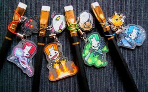 Castle Crashers pencil charms by SirKittenpaws