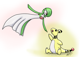 Dec 4 and 5: Ampharos and Gardevoir by godzilla3092