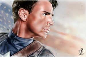 iPad finger painting: Captain America by chaseroflight