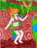 Jungle Girl Peach grabs a python (Request) by GreenDayLuigi