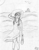 Young Girl In The Beach by RazKurdt