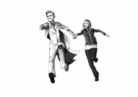 Rose and the Doctor B+W by Raechi-Cherie