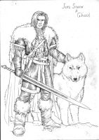Game of Thrones - Jon Snow and Ghost by RubusTheBarbarian