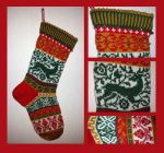Christmas stocking - classic colours - COMMISSION by KnitLizzy