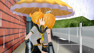 A kiss under an umbrella (Len x Rin) by MayumiSasaki