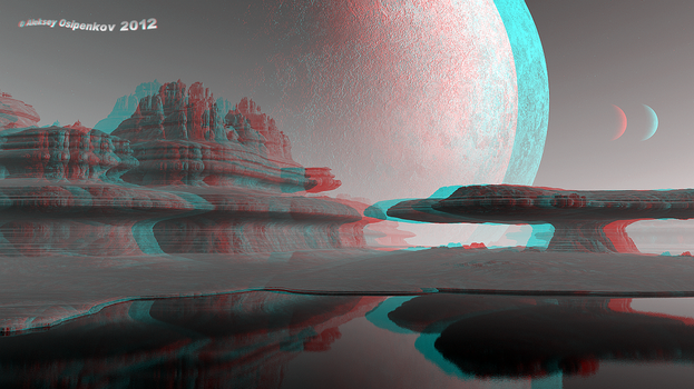 Planet 'Sandy rocks' Anaglyph 3D Stereoscopy by Osipenkov